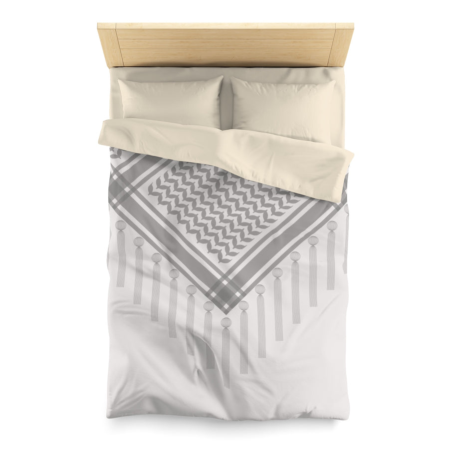 White Duvet Cover with Hatta Bedouin Scarf | Yislamoo