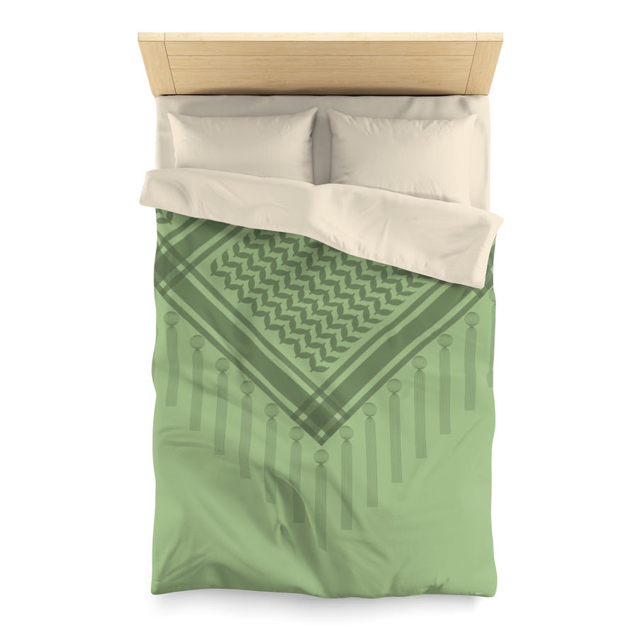 Green Duvet Cover with Hatta Bedouin Scarf | Yislamoo