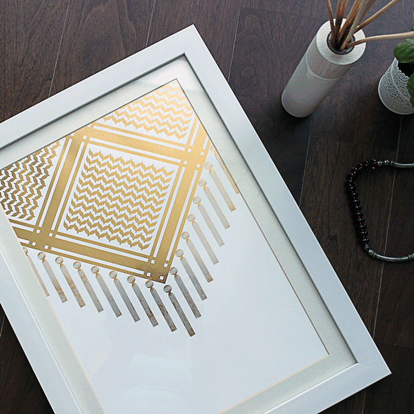 Gold Prints,Bedouin Scarf Art Print,White and Gold Poster,Yislamoo