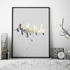 Gold Art Prints | Mashallah Art Print in Metallic Gold | Yislamoo