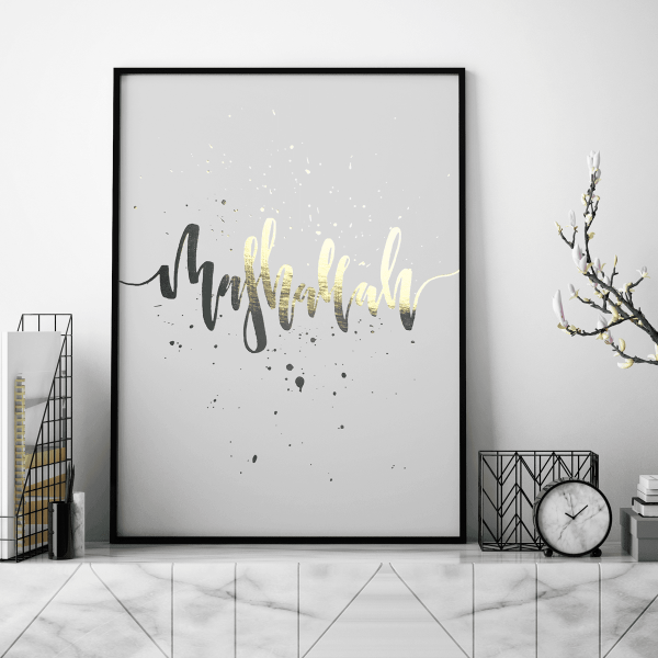 Gold Posters,Gold Foil Prints,Living Room Wall Decor, Art Print,Yislamoo