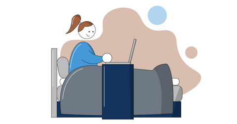 Illustration of a woman in bed on her computer