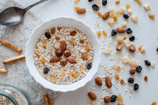 bowl of oatmeal and nuts