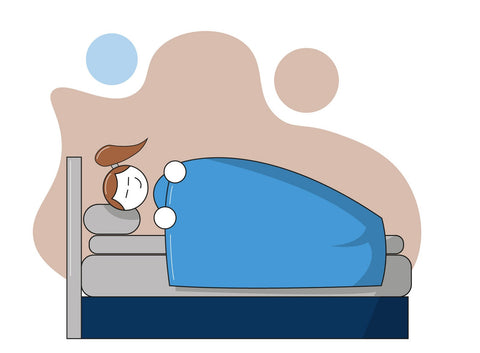 Illustration of a happy working sleeping soundly on their mattress topper