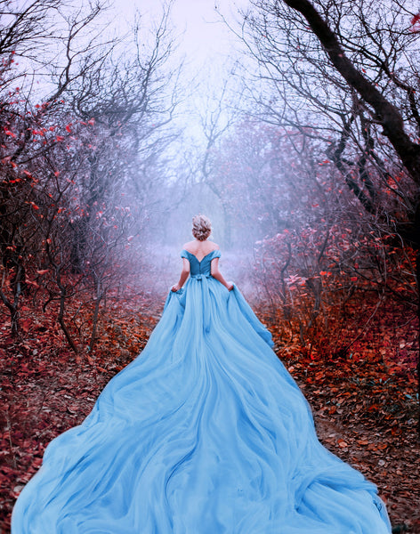 A woman dressed as Cinderella in a foggy forest