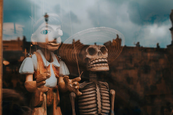 A wooden boy puppet and skeleton behind window