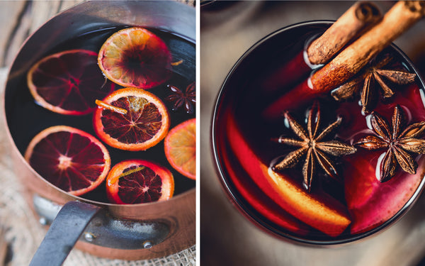 Two photos of Mulled Wine. One of the beverage in a large saucepan, the other of the beverage in a mug.