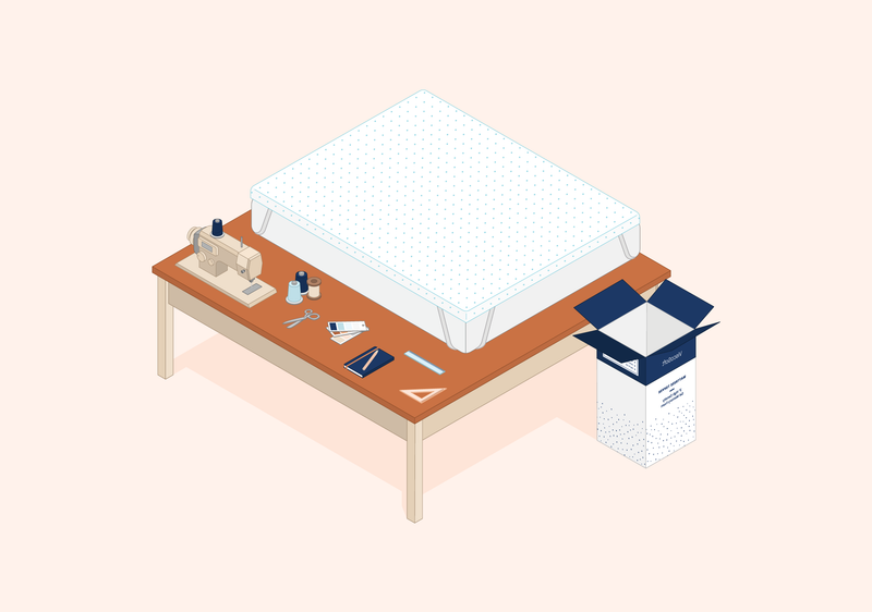 Illustrations of a Select High Density Mattress Topper on a worktable with craft tools beside it
