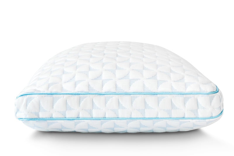 End view image of the cold wire pillow.  Pillow has a medium loft and looks cool to the touch.