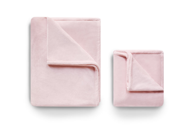 Set of two pink fleece blankets.  Throw size.