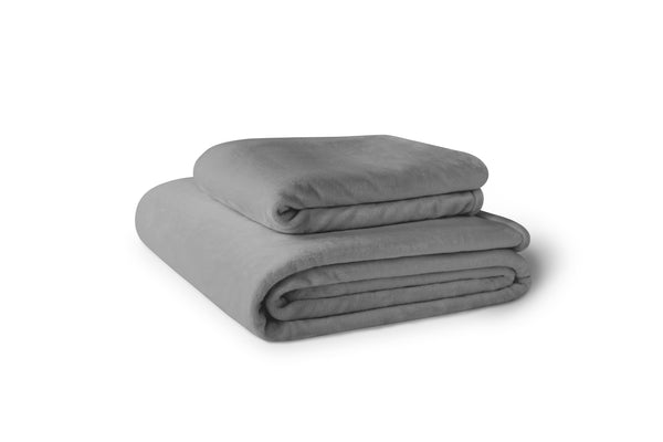 Stack of two gray fleece blankets.  Blankets are available in 4 sizes. (No Script, Alternate View)