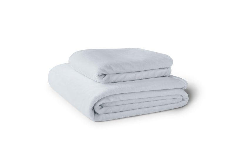 Stack of two aqua fleece blankets.  Blankets are available in 4 sizes.