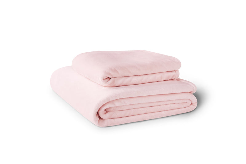 Stack of two pink fleece blankets.  Blankets are available in 4 sizes.