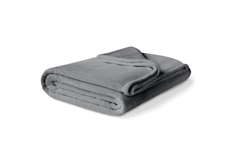 Folded gray fleece blanket