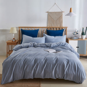 Pinstripe Denim Duvet Cover Set