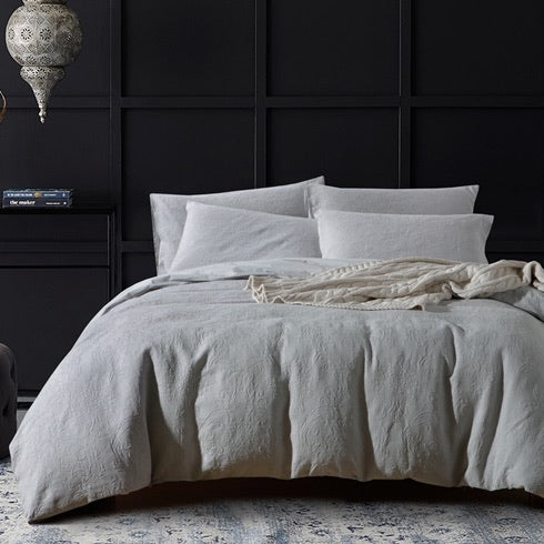 Aria Grey Matelassé Duvet Cover Set