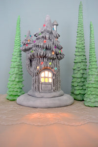 Ceramic Fairy House | Winter Pine