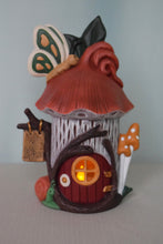 Load image into Gallery viewer, Fairy House -Butterfly Fairy House - Tealight Holder - Lighted Fairy House - Gift for little girl - Fairy Dwelling - Mothers Day Gift