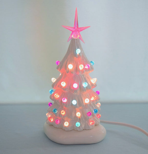 Pastel-Lit Ceramic Christmas Tree