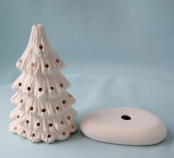 Ceramic Christmas tree in bisque - 5.75 inches tall - DIY