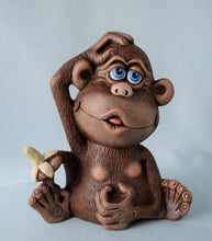 Load image into Gallery viewer, Monkey - Figurine - Ceramic - Nursery Decor - Ape - Chimpanzee - Jungle - baby Shower - Birthday - Collectible - Gift for Kids - Safari