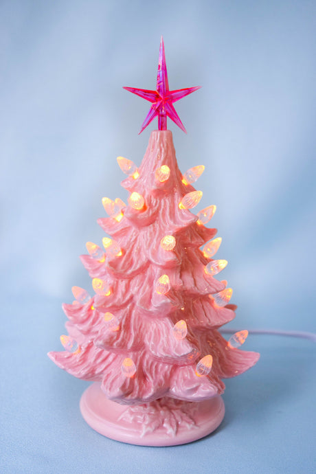 Pink Ceramic Christmas Tree - 8 Inches Tall