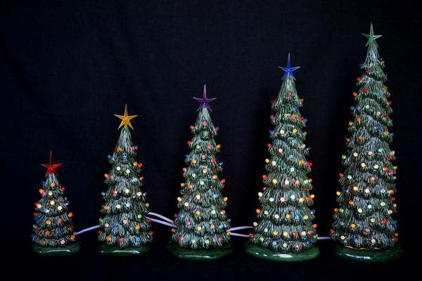 Ceramic Christmas tree in bisque - Slim Christmas Tree - 16 inches tall - village -  Tree - Ready to paint - Painting project - DIY ceramics