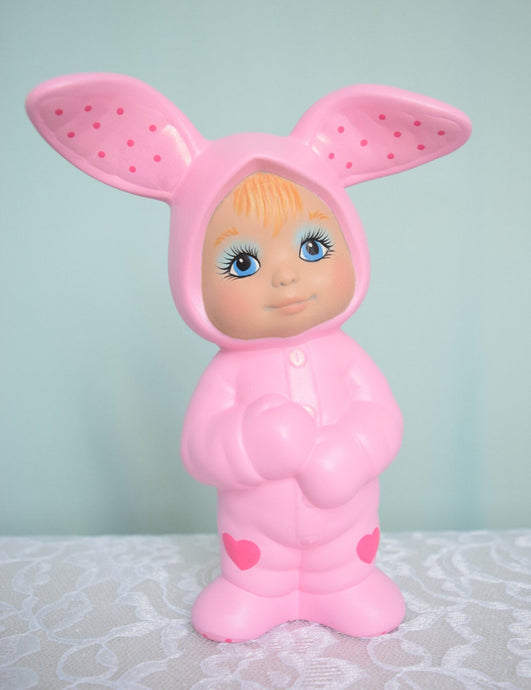 Pink Easter Bunny | Vintage Ceramic Style