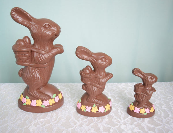 Ceramic Chocolate Easter Bunny - Faux Food - 10.5 Inches Tall