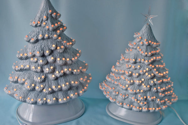 Snowy Christmas Tree | Large Ceramic Light | Windowsill Style