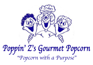 Drawing of three people with arms around each other. Poppin' Z's Gourmet Popcorn company title