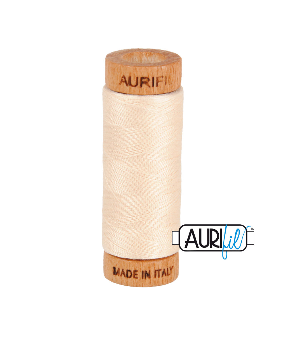 Aurifil 80wt Thread #2000 Light Sand duckeggthreads.co.uk