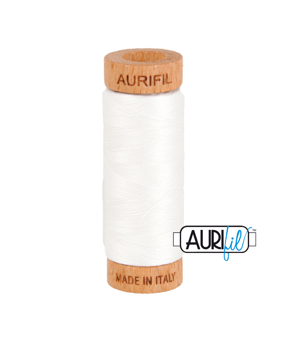 Aurifil 80wt Thread #2021 Natural White duckeggthreads.co.uk