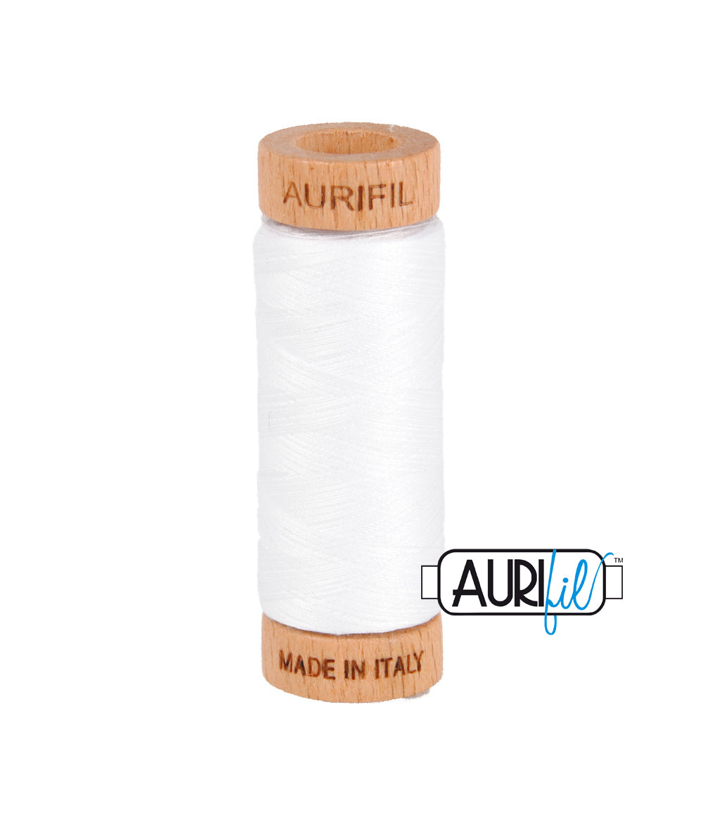 Aurifil 80wt Thread #2024 White duckeggthreads.co.uk