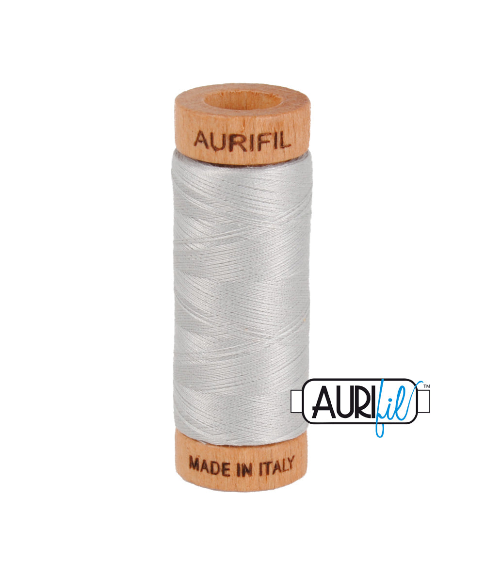 Aurifil 80wt Thread #2615 Aluminium duckeggthreads.co.uk