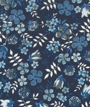 Liberty Tana Lawn Edenham H Navy Blue duckeggthreads.co.uk