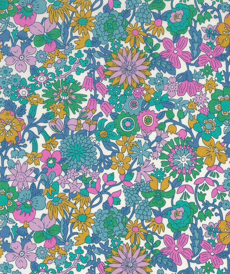 Liberty Tana Lawn June Blossom C Blue Green duckeggthreads.co.uk