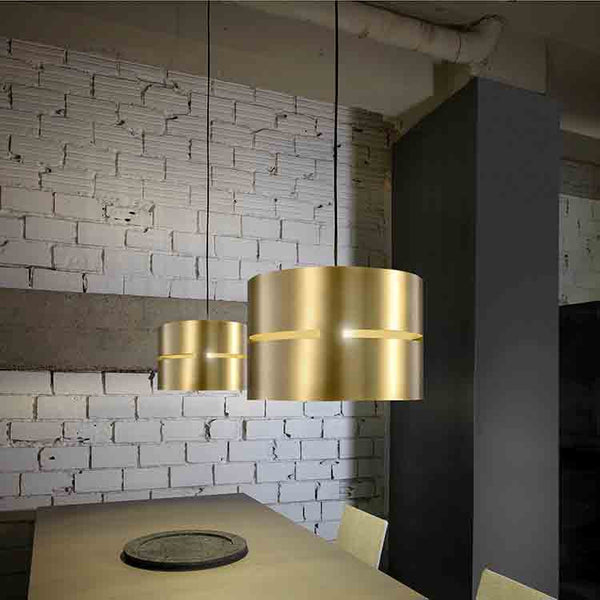 Luz Oculta Brass Metal Pendant Light by Fambuena