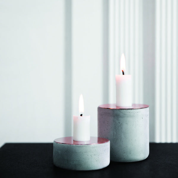 Chunk of Concrete Candle Holder with Copper Top by Menu - Innerspace - 1