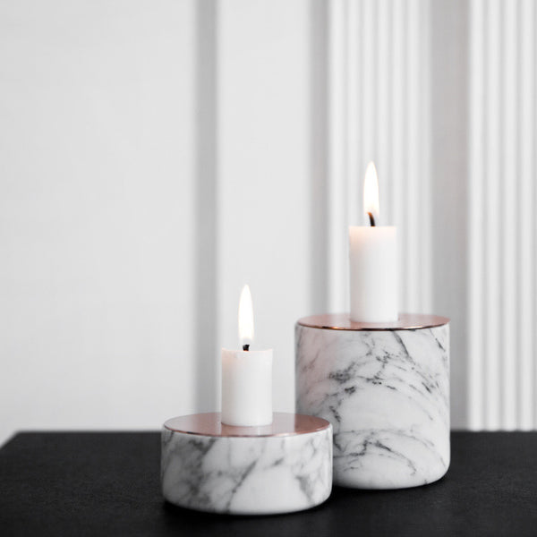 Chunk of Marble Candle Holder with Copper Top by Menu - Innerspace - 1