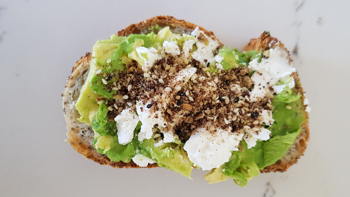 Chia seed bread, Avocado, Goat feta and Telegraph Hill Olive Dukkah