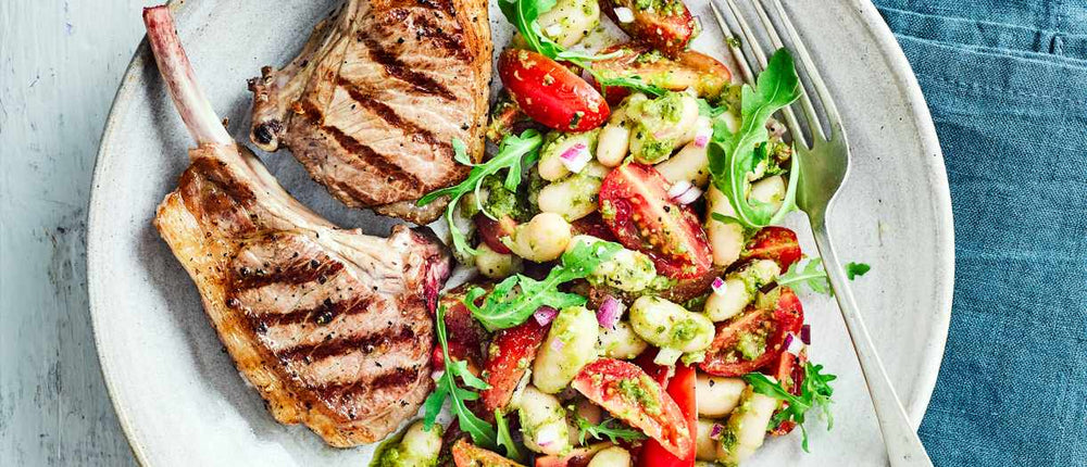 Lamb Cutlets with Pumpkin Seed Pesto and Beans