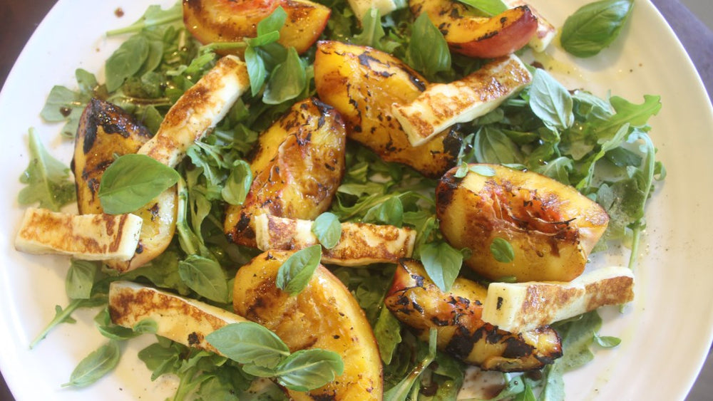 Peach, Halloumi and Smoked Balsamic Salad