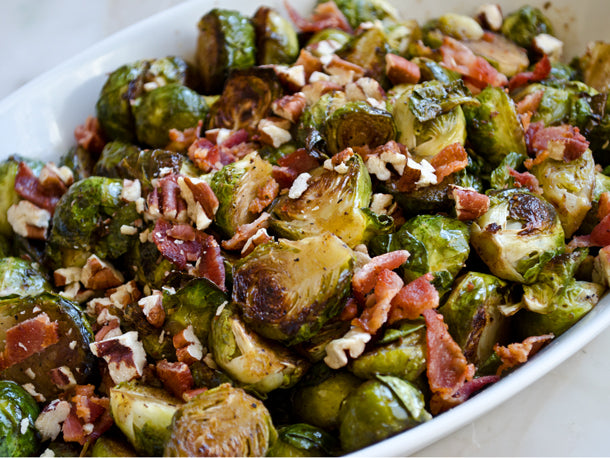 Roasted Brussels Sprouts With Bacon, Pecans, and Turmeric & Black Pepper Drizzle Recipe
