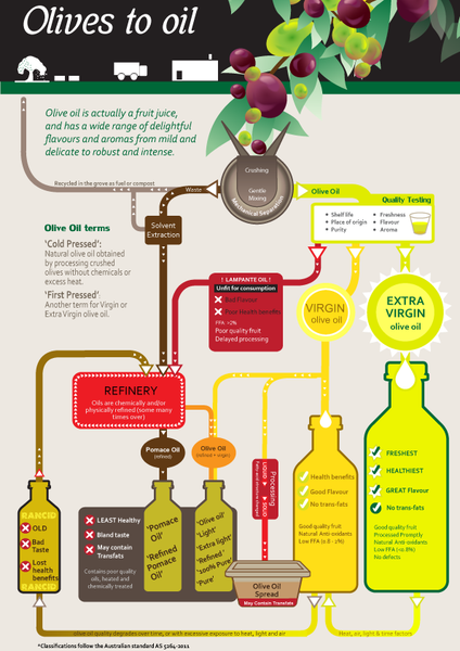 Olives to Oil chart the four different types of olive oil