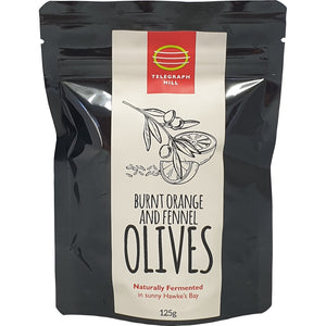 Burnt Orange and Fennel Olives 125g