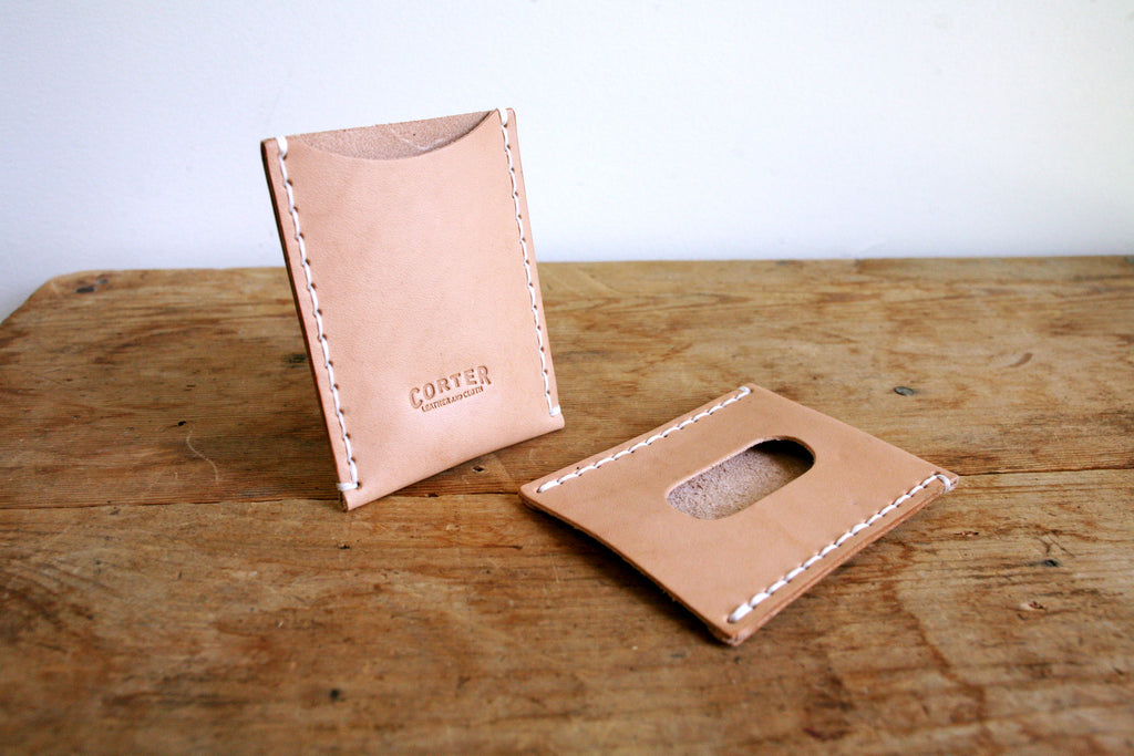 Attractive Standard Card Sleeve (Natural)   Corter Leather & Cloth WT52