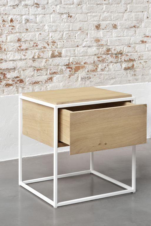 Monolit Bedside Table - Oak with White