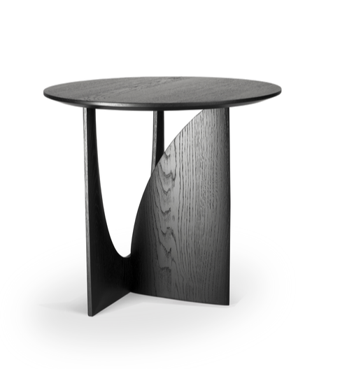 Geometric Side Table - Black Oak