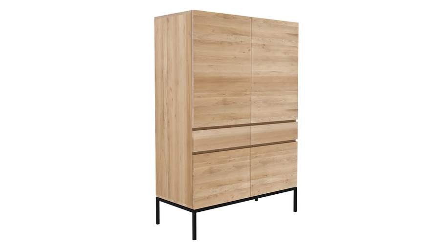 Ligna Storage Cupboard - Oak with Black Base